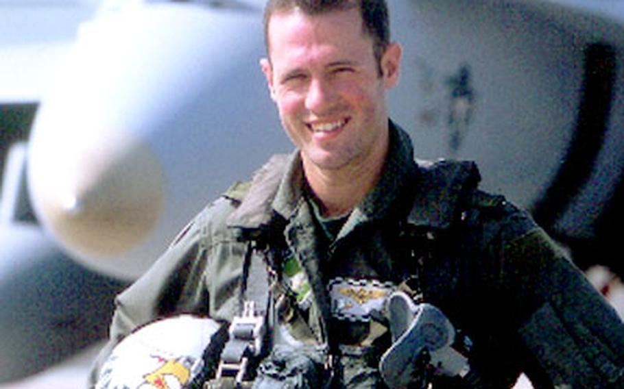"""Navy Lt. Nathan White, an F/A-18 pilot from Atsugi Naval Air Facility and the USS Kitty Hawk, was shot down and killed in a """"friendly fire"""" incident over Iraq April 2."""