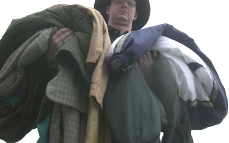 Spc. Mark Stottsberry remembers what it was like to arrive as an injured soldier at Landstuhl Regional Medical Center from the Middle East with little more than the clothes on his back. Now he's trying to help wounded soldiers come in from the cold.