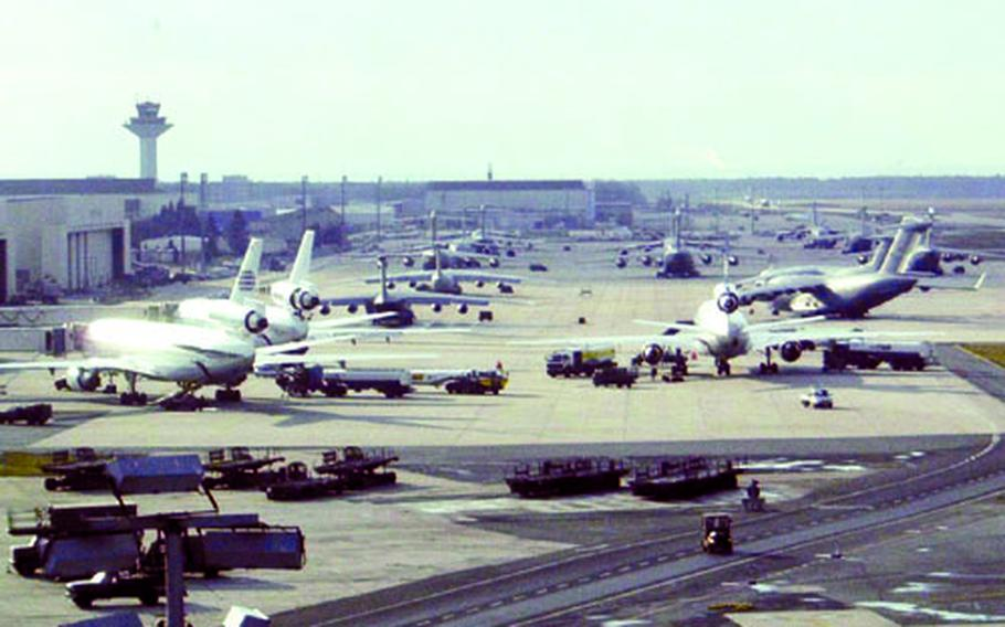 """Rhein-Main Air Base sports a """"full ramp"""" in February 2003, as every parking spot on the tarmac is filled."""