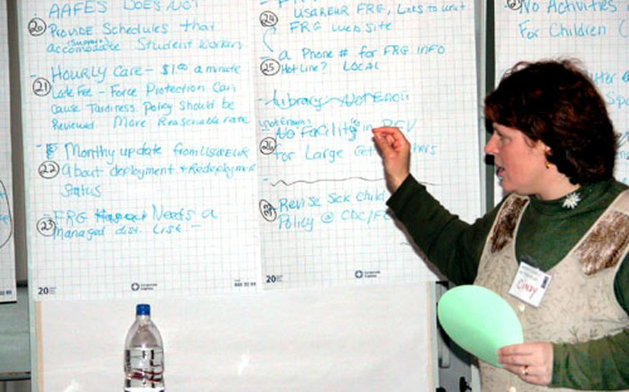 Cindy Brown goes over some ideas that were presented Tuesday at the 293rd Base Support Battalion's Army Family Action Plan conference in Vernheim, Germany.