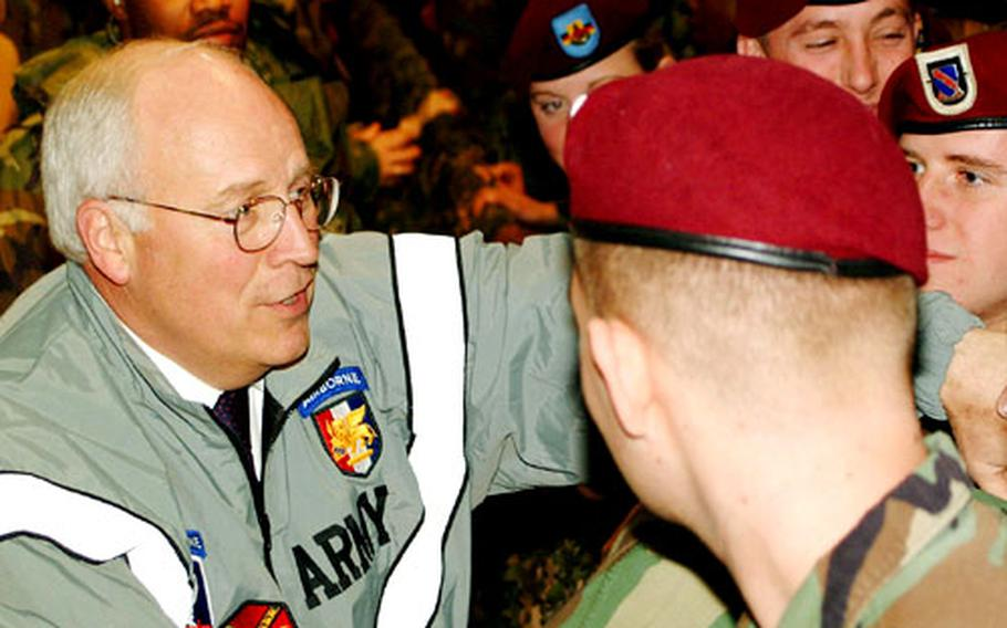 Vice President Dick Cheney greets servicemembers during a stop at Caserma Ederle, Italy, on Tuesday.