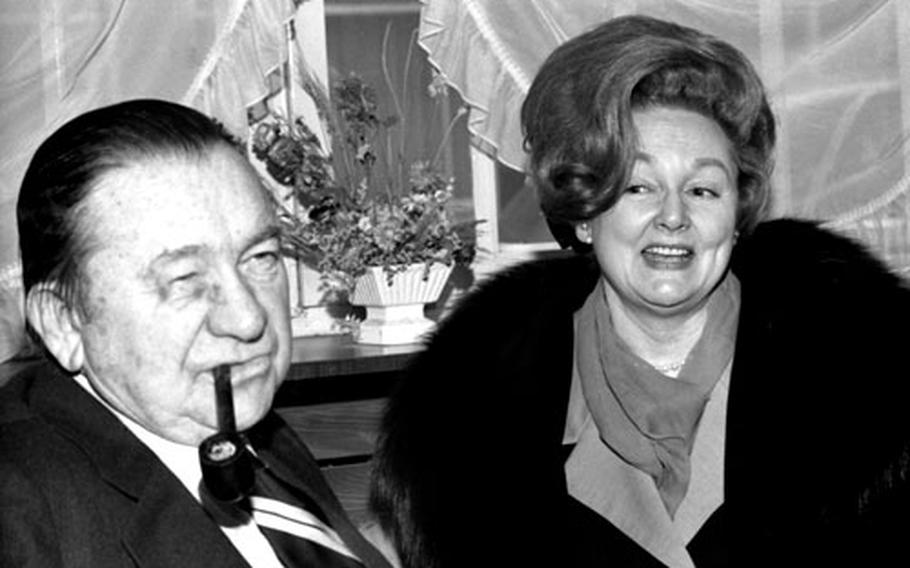 Tex Ritter and his wife, Dorothy, at Wiesbaden, Germany, in January, 1971.