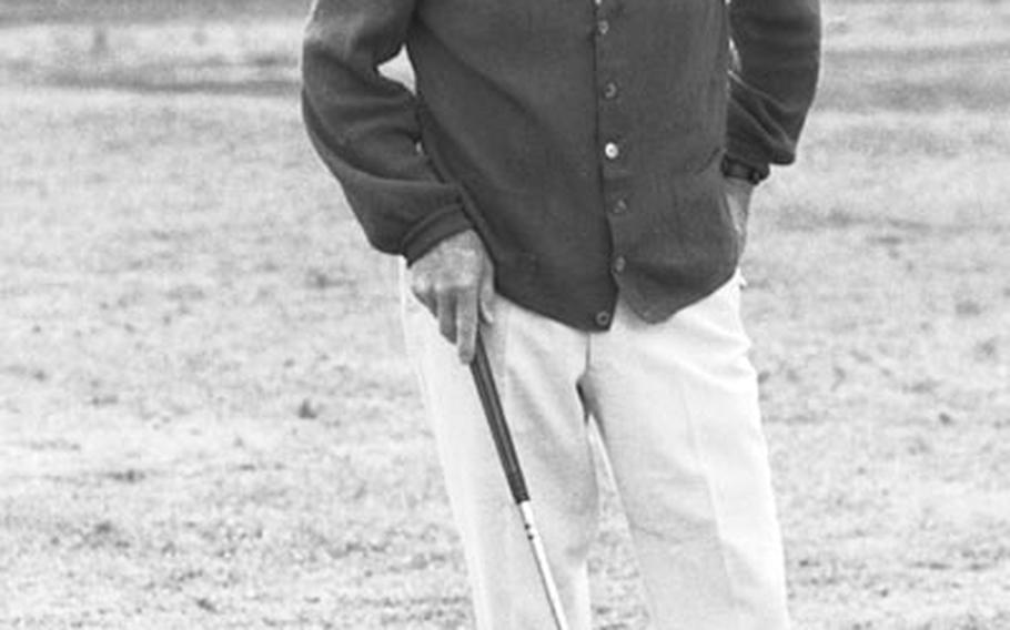 Bing Crosby on the driving range before pro-am for the 1976 German Open at Frankfurt.