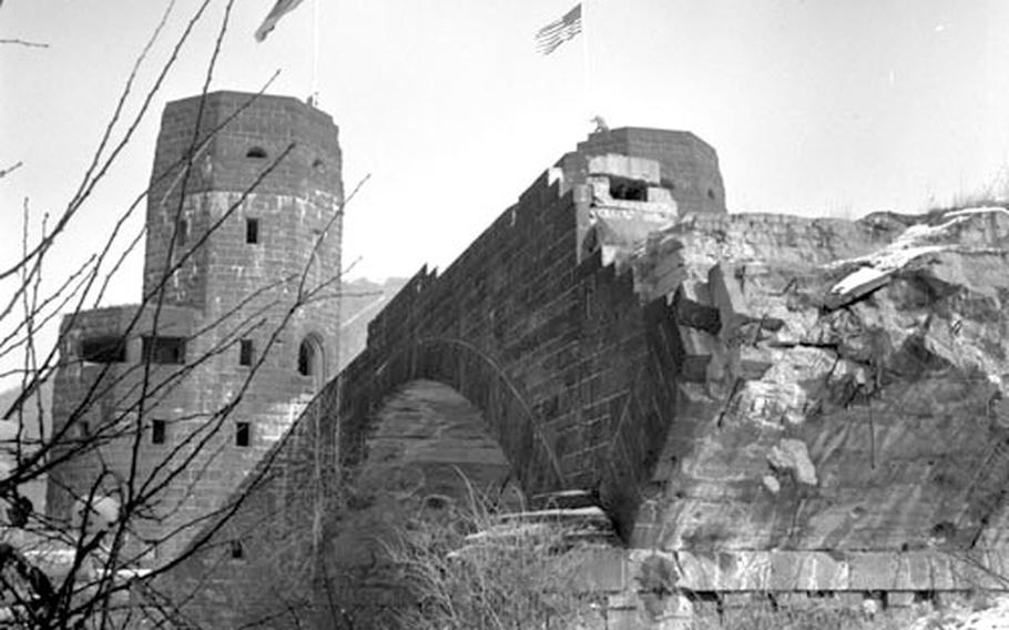 The ruins of the Ludendorff Bridge in March, 1962.