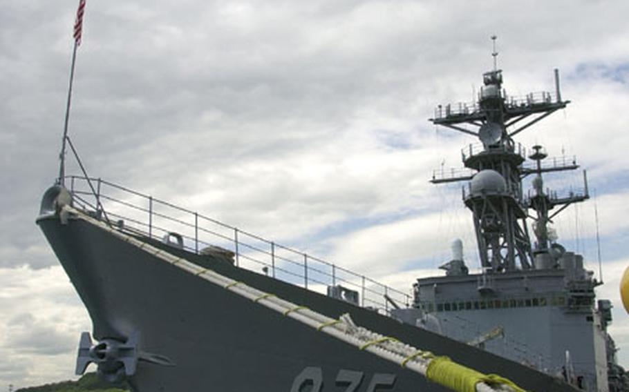 USS O'Brien sits pier-side at Yokosuka Naval Base on Wednesday.