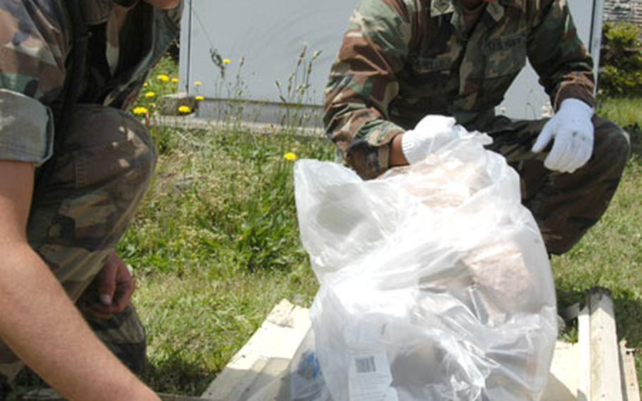 Constructionman Michael K. Harrington, a builder (left) and Petty Officer 3rd Class Lan Arlo Capelle, a steelworker, both with Naval Mobile Construction Battalion 5, pick up trash Friday as part of an Earth Day cleanup at Naval Air Facility Atsugi. The Seabees, deployed to Atsugi from Port Hueneme, Calif., were part of a group of 60 base residents who helped clean the base flight line.