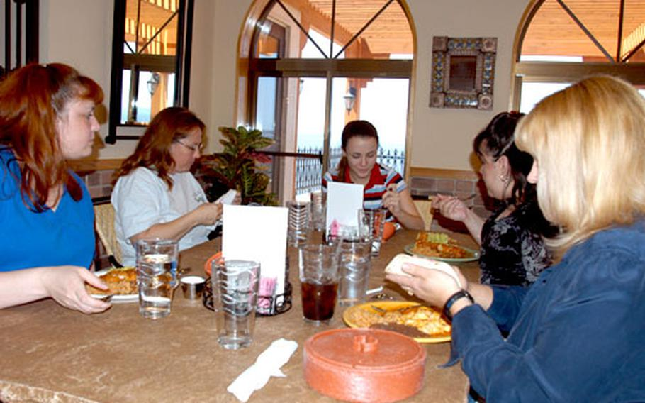 Pancho Villa, the newest restaurant at Misawa Air Base, Japan, reopened for lunch last week. Customers say the wait is much shorter. Enjoying Pancho Villa's offerings are, from left, Anna Amtaya, Cindy Zimmerman, Heather Zimmerman, Missy Snyder and Ivy Hoyle.