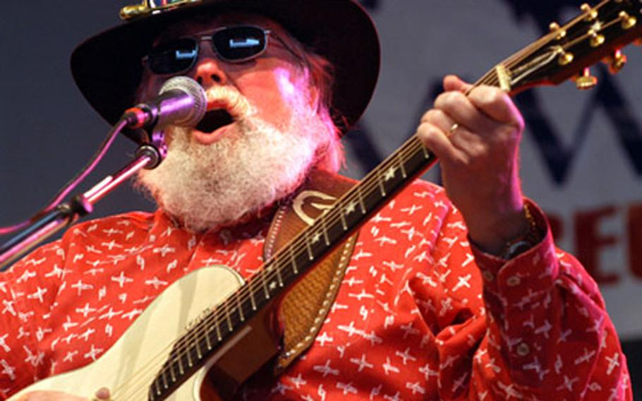 Charlie Daniels on stage at the hangar at the Army Airfield at Wiesbaden, Germany, on Thursday.