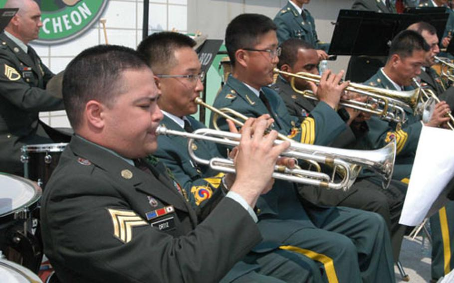 Members of the 2nd ID Band entertain the crowd along with members of the ROK Army 5th ID Band at Jeongok-ri.