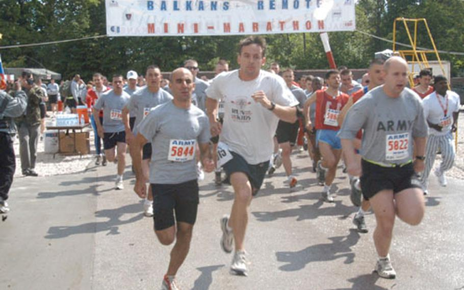 Some 300 runners set out on the 13.1-mile run at Eagle Base in Bosnia and Herzegovina. The run was a satellite race of the Indianapolis Life 500 Mini Marathon.