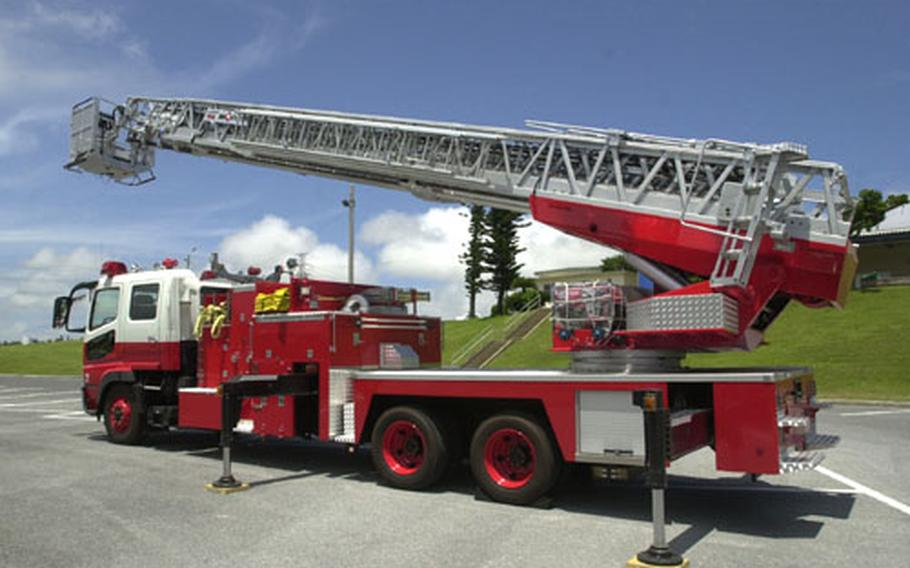 The newest Marine Corps fire truck on Okinawa is the largest in the Department of Defense arsenal in the Pacific, towering just above 134 feet. The truck cost $750,000.