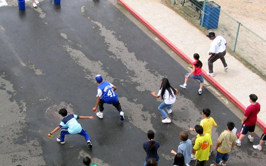 Sasebo Elementary School pupils were spread throughout the physical education and recreation facilities on Wednesday during the 2004 Field Day at the Sasebo Naval Base school.