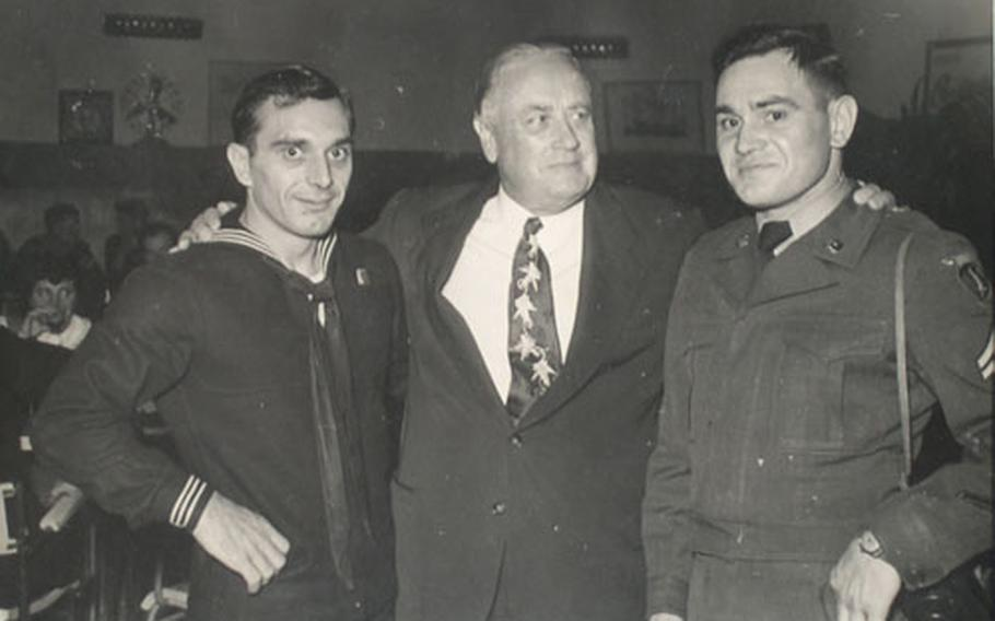 Wisconsin Sen. Alexander Wiley mugs with sailor Lawrence Seliger and Army Cpl. Mark Seliger, constituents from Marathon, Wis., in this undated photo. Both sailor and senator alike visited Naples' United Seamen's Service Center, as well as many top Italian singers and musicians, and military and civilian officials.