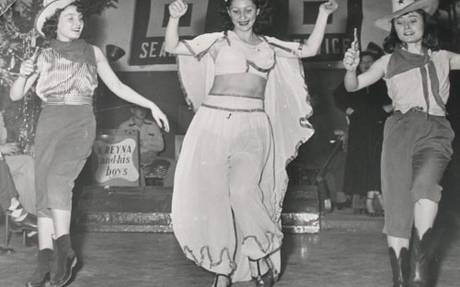 Three women dance at the Naples, Italy, United Seamen's Service Center in this undated photo. Cruise ships pulling into Naples would send their bands and floor shows over to perform at the club. The club operated at the location seen here in Palazzo Reale from 1951 until 1997, when it moved into the Naples port. The center closed for good last month.