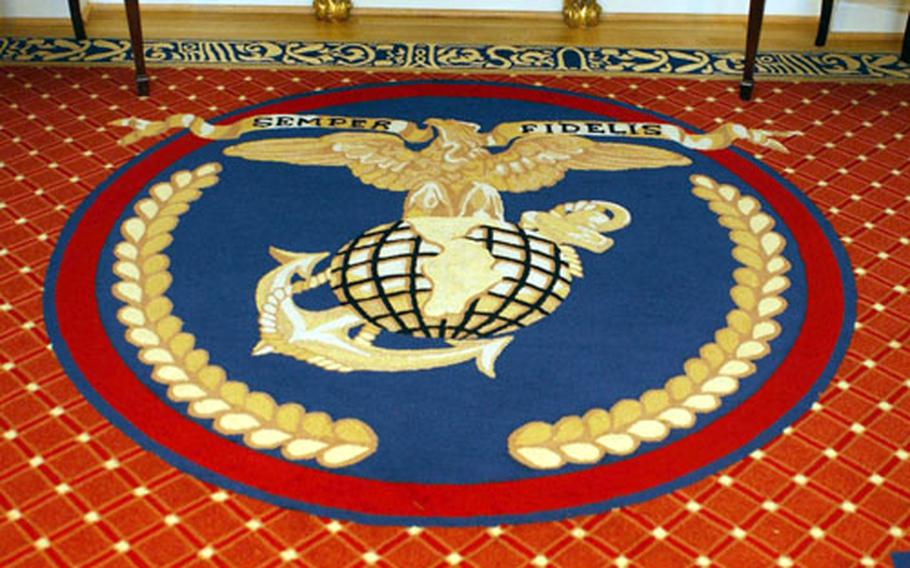 A General Accounting Office report found on maintenance costs for Marine Corps and Navy general and flag officer quarters revealed inconsistencies in reported gifts such as this custom-made rug used to help renovate the homes.