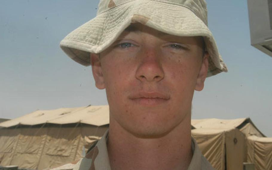 Pvt. Steven Sentel, a heavy equipment transporter with the 233rd Transportation Company.