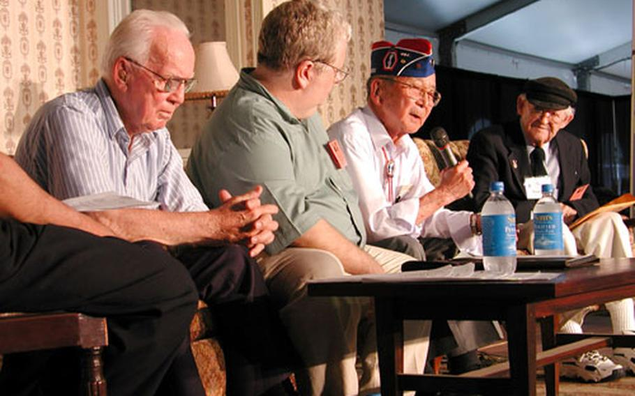 """Participating in a Veterans History Project discussion entitled """"POWs tell their stories"""" are, left to right, Richard Francies, moderator Tom Swope, Jimmie Kanaya and Marty Higgins."""