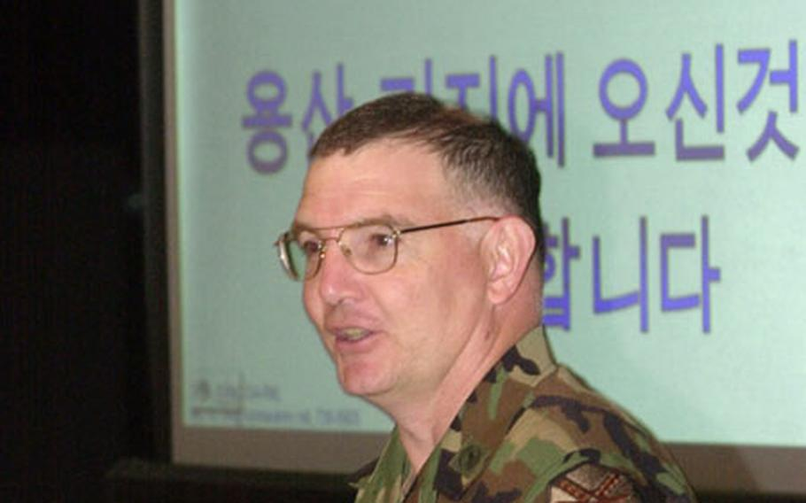Area II commander Col. Timothy McNulty welcomes a group of Korean National Police to Yongsan Garrison Monday.