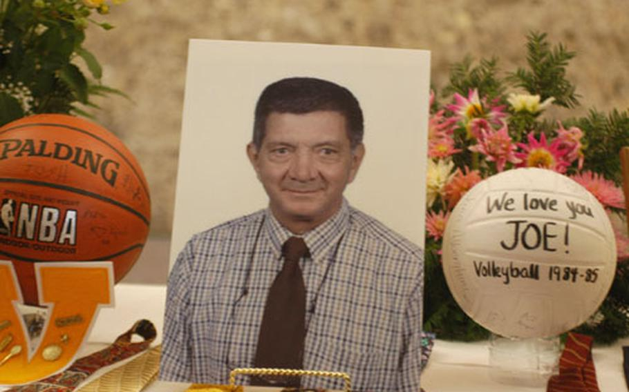 Joe Pellerito spent 40 years teaching students in Vicenza before suffering a fatal stroke last week. Outside the classroom, he also taught music and coached girls' tennis, basketball and volleyball teams over the years. He was remembered by hundreds of people Tuesday in a memorial service.