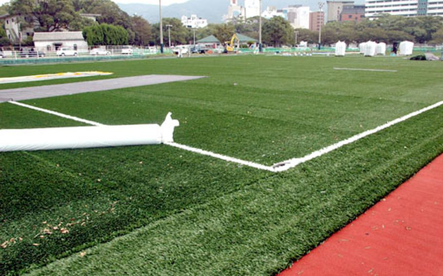Sasebo Naval Base is the first military installation in Japan to install artificial turf on a multipurpose athletic field.