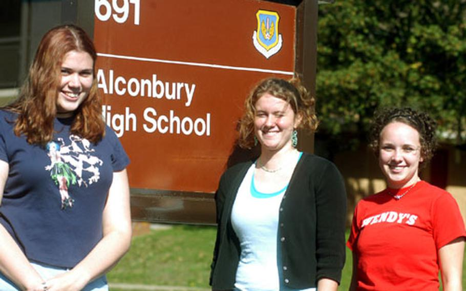 From left, Crystal Woideck, Caitlin Laingen and Katie Thompson are seniors this year at Alconbury High School, RAF Alconbury, England. All three say they will enjoy being seniors, despite the hard work and the expectations.