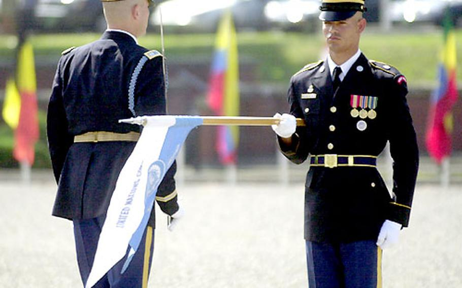 United Nations Command Honor Guard soldiers participate in a repatriation ceremony Thursday at Yongsan Garrison.