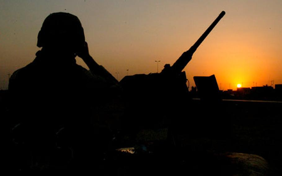 The sun sets over Ramadi, the largest city in Strike Force's area of operations.