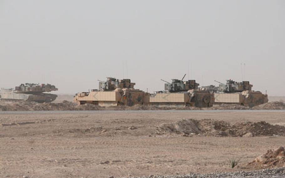 Dust and more dust. That's what cavalrymen with the 1st Squadron, 4th Cavalry Regiment and their vehicles get used to in the austere environment of Forward Operating Base McKenzie. And sand fleas, too.