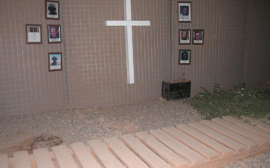 The Wall of Remembrance at Forward Operating Base McKenzie.