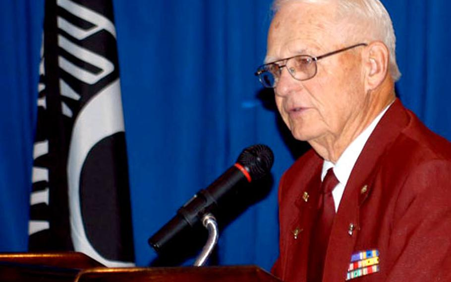 Robert E. Ball, a former Army Air Corps first lieutenant who spent nearly a year as a prisoner of war in Germany, spoke Tuesday during the National POW/MIA Recognition Day luncheon on Rhein-Main Air Base, Germany.