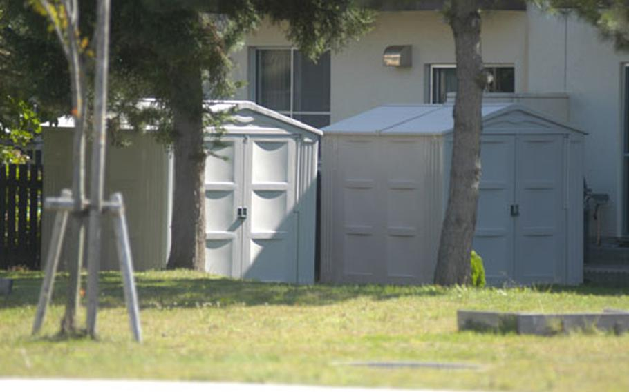 As of Sept. 1, only plastic or metal storage sheds are authorized for housing residents at Misawa Air Base, Japan. At least 400 units on base had to replace locally-bought tarpaulin sheds since January to conform to the new requirement.