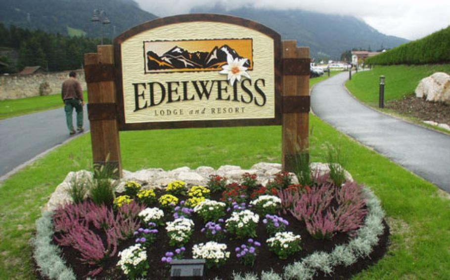 The Edelweiss Lodge and Resort sign in Garmisch, Germany.