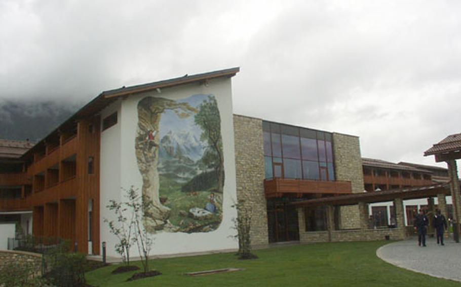 The exterior of the Edelweiss Lodge in Garmisch, Germany, is adorned with three murals that tell the story of the Edelweiss flower, which in the Bavarian Alps is known as a legendary elixir of love.