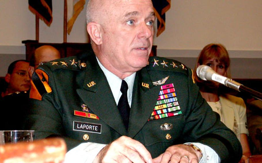 Gen. Leon J. LaPorte, commander of U.S. Forces Korea, testifies Tuesday at an issue forum for the House Armed Services Committee on enforcing U.S. policies against prostitution and human trafficking, updating members of Congress on progress of the military's zero-tolerance policy.
