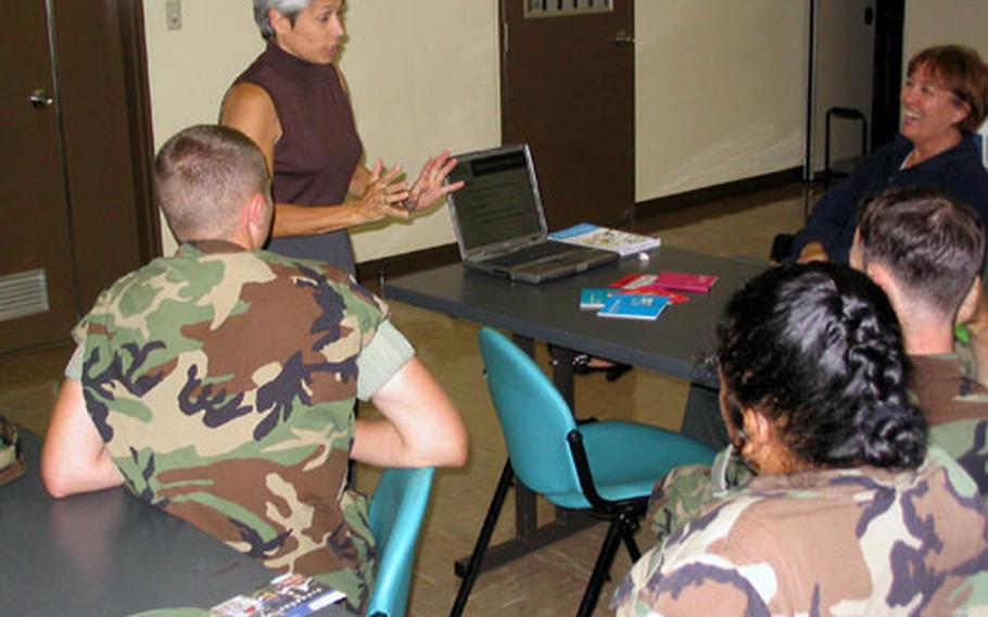 Nancy Avila, a representative with Navy One Source, visited Sasebo Naval Base last week to remind personnel about the services offered by the Web site. She met with a group at the Hario Housing Village on Thursday night to outline the free service.