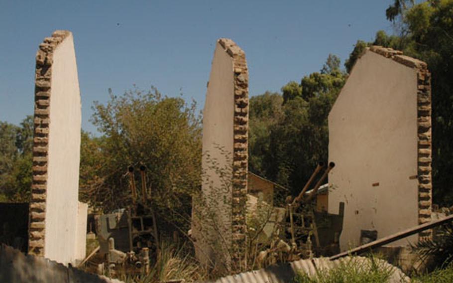 The Iraqis hid several artillery guns inside this damaged building at Camp Habbaniyah, Iraq.