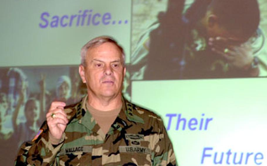 Lt. Gen. William Wallace, former V Corps commander, says he didn't recognize quickly enough when the power shifted away from Saddam Hussein during Operation Iraqi Freedom. Wallace spoke Wednesday at the Land Combat Expo in Heidelberg, Germany.