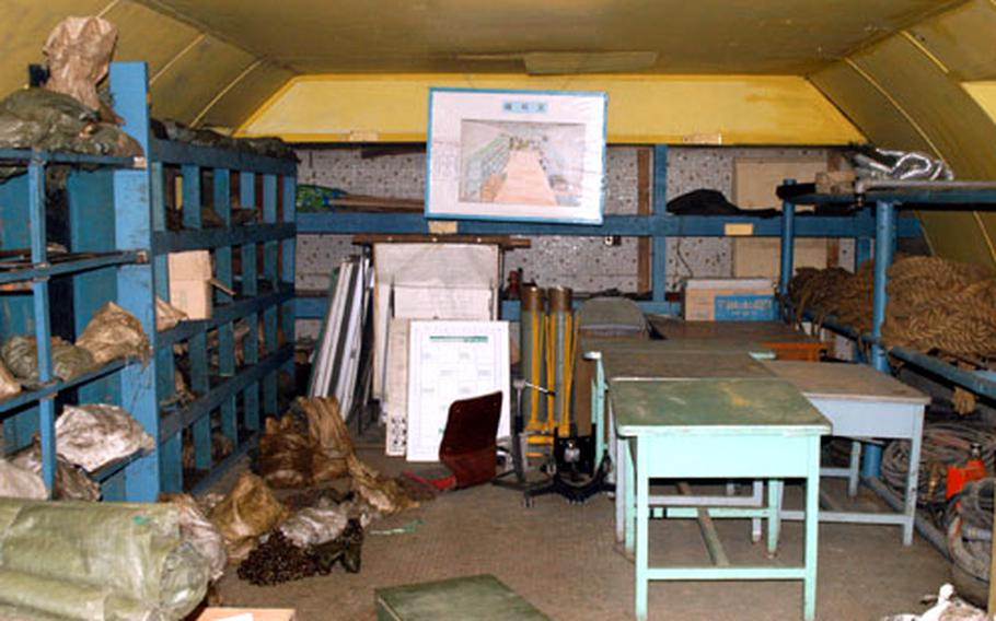 The operating theatre inside the MASH hospital at Camp Mosier is now used by the South Korean army for storing equipment.