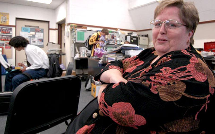 Irene Dugdale Lee, named Department of Defense Education Activity 2005 Teacher of the Year, in her Seoul American High School classroom on Yongsan Garrison, South Korea.