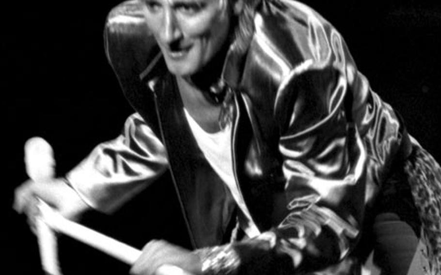 Rod Stewart, onstage at Tokyo's Budokan hall in 1981.