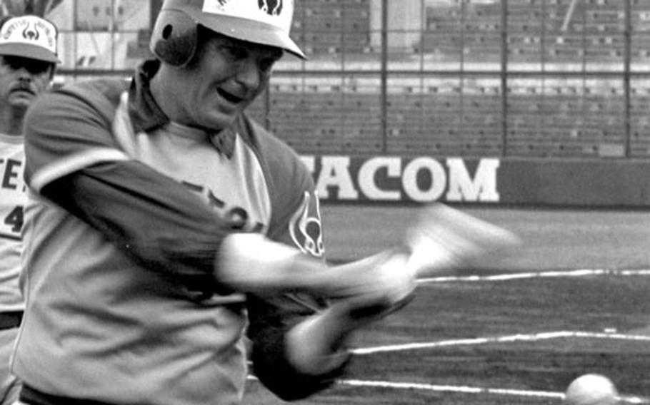Charlie Manuel gets ready for a game during his time with the Kintetsu Buffaloes.