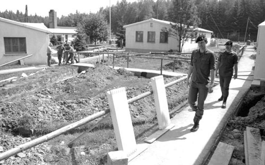 Soldiers at Camp Gates, along the border with Czechoslovakia, had to work around a renovation project in 1974.