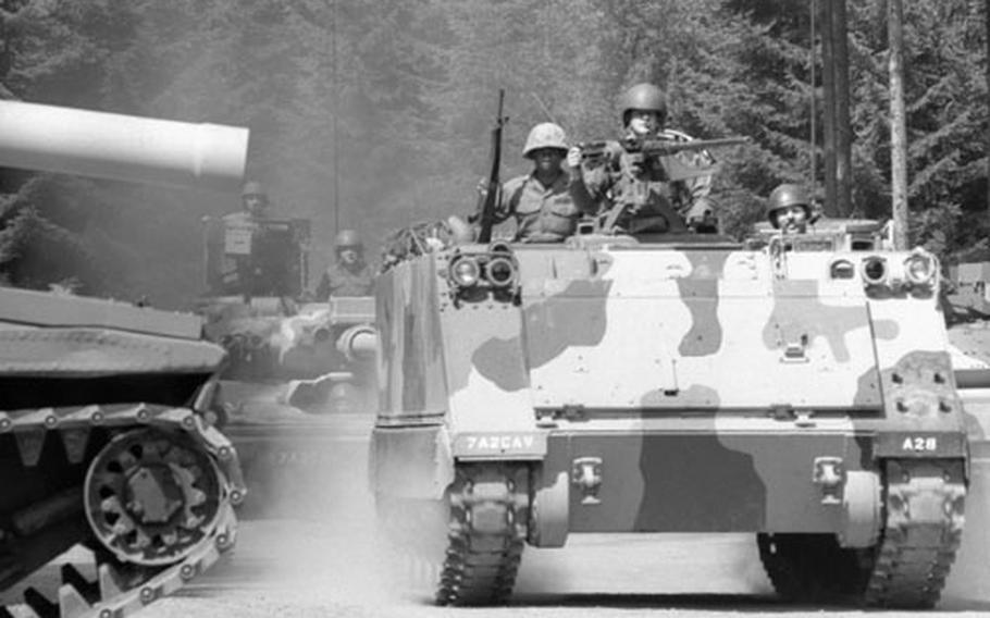 Armored cavalry troops train at Camp Gates, within shouting distance of the Eastern Bloc, in 1974.