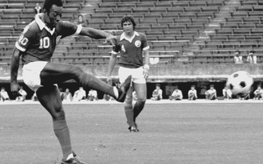 Pele, at Tokyo's National Stadium in September, 1977 for two exhibition games in the final days of his career with the New York Cosmos of the North American Soccer League.