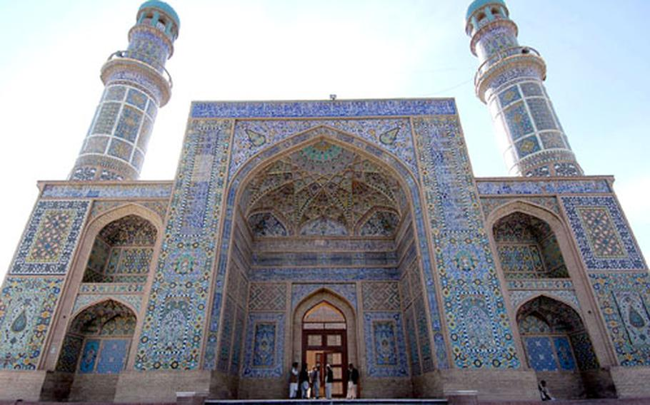 The Great Mosque of Herat, founded in 1200, is often called the Blue Mosque, because of its blue tiles. Herat, in western Afghanistan, is a cultural center of the country.
