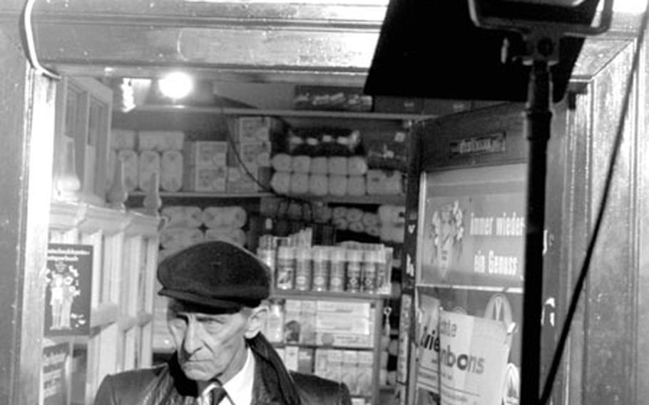 Peter Cushing on the set of  in Sachrang, Germany.