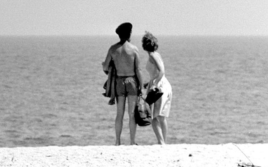 A family moment for John and Hayley Mills in Spain in 1964.