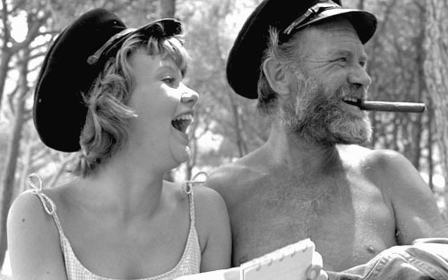 """Actress Hayley Mills and her father, John Mills, on the set of """"The Truth about Spring"""" in Spain in May, 1964."""