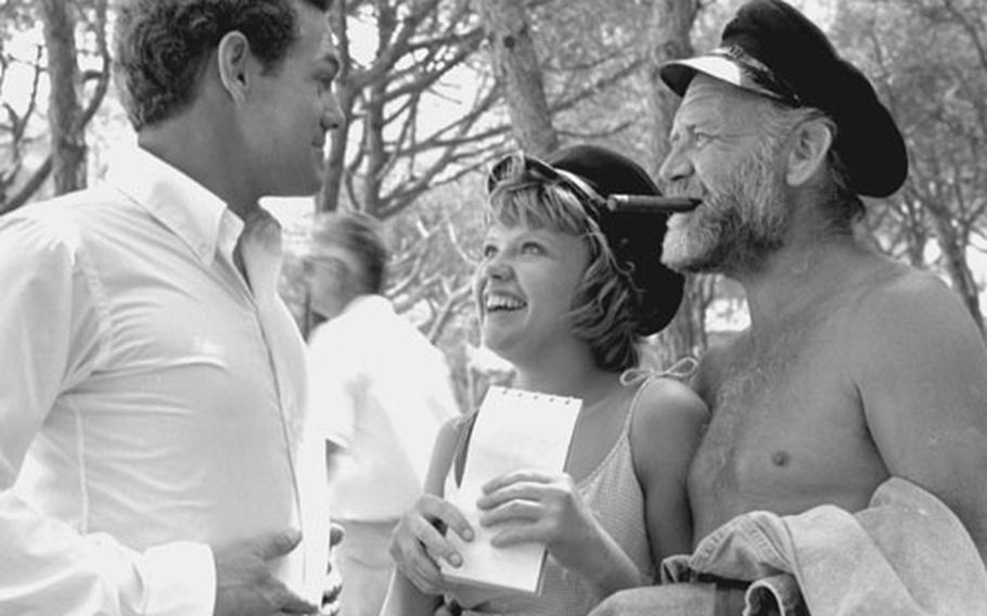 """Father and daughter John and Hayley Mills share a laugh with """"The Truth about Spring"""" co-star James MacArthur, left, who knows all about acting families as the son of the legendary Helen Hayes."""