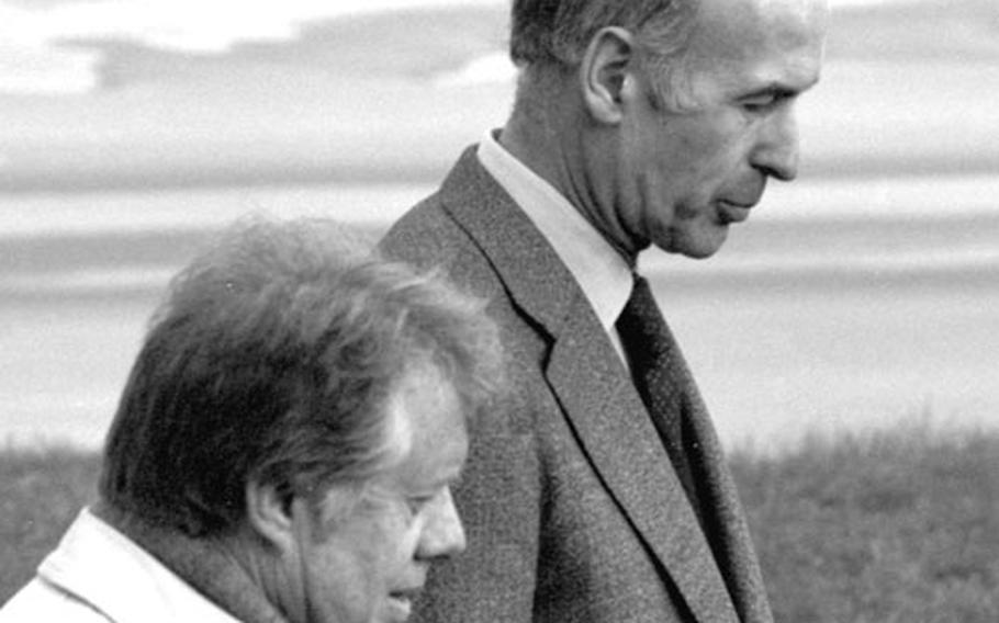 President Jimmy Carter with French President Valery Giscard d'Estaing at Normandy in January, 1978.